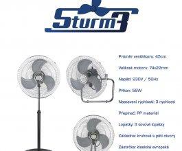 Cirkulační ventilátor STURM3v1, průměr 45cm