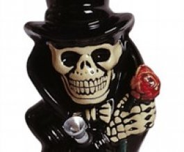 Keramický bong Kostlivec s růží 18cm